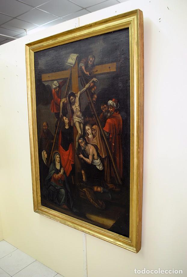 Arte: ÓLEO SOBRE LIENZO SIGLO XIX - EL DESCENDIMIENTO DE JESÚS - Foto 6 - 93789965
