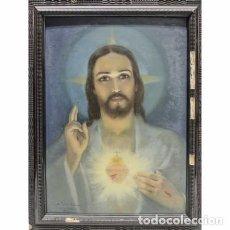 Arte: SAGRADO CORAZÓN. ÓLEO SOBRE TABLA. 53X39. FIRMADO Y FECHADO. ANTONIO UTRILLO.. Lote 93800670