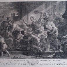 Arte: GRABADO DE DELAUNAY SOBRE UNA OBRA DE LUCA GIORDANO: EXPULSIÓN DEL TEMPLO / 1780/ SELLO HÚMEDO. Lote 93843000
