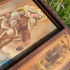 Arte: ANTIGUO TRÍPTICO RELIGIOSO TABLA MADERA PINTADA A MANO-VIRGEN MARÍA CON NIÑOS JESÚS- AÑOS 50'S.. Lote 93895445