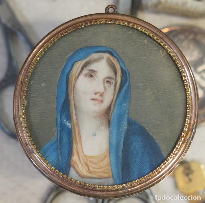 BONITA MINIATURA DE VIRGEN. GUACHE S/ MARFIL. SIGLO XVIII-XIX (Arte - Arte Religioso - Pintura Religiosa - Acuarela)