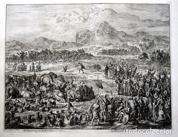 1729 - GRABADO BIBLIA - ENCUENTRO DE JACOB CON ESAU - LUYKEN - ENGRAVING - GRAVURE - 580X520 MM (Arte - Arte Religioso - Grabados)