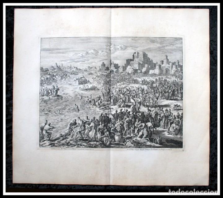 Arte: 1729 - MOISES CONVIERTE LAS AGUAS EN SANGRE - BIBLIA - LUYKEN - ENGRAVING - GRAVURE - Foto 3 - 94030170