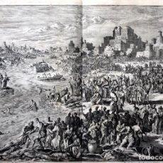 Arte: 1729 - MOISES CONVIERTE LAS AGUAS EN SANGRE - BIBLIA - LUYKEN - ENGRAVING - GRAVURE. Lote 94030170