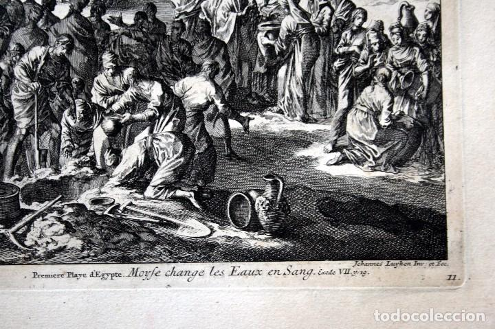 Arte: 1729 - MOISES CONVIERTE LAS AGUAS EN SANGRE - BIBLIA - LUYKEN - ENGRAVING - GRAVURE - Foto 4 - 94030170