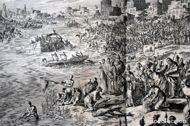 Arte: 1729 - MOISES CONVIERTE LAS AGUAS EN SANGRE - BIBLIA - LUYKEN - ENGRAVING - GRAVURE - Foto 5 - 94030170