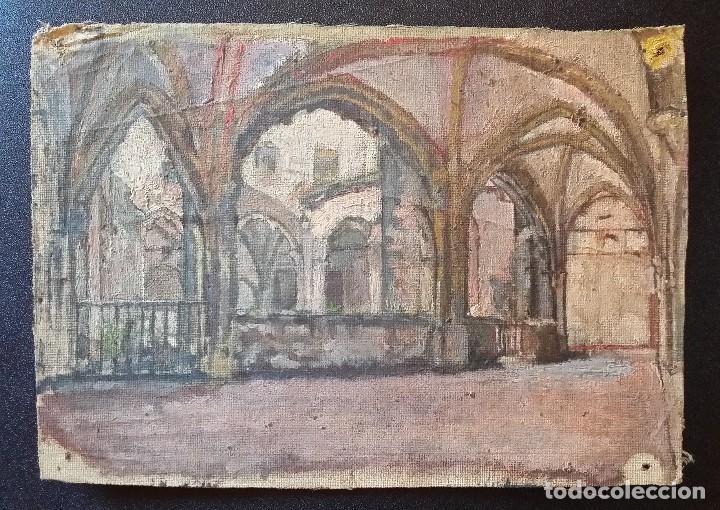 CLAUSTRO DE SAN ESTEBAN EN BURGOS / OLEO SOBRE LIENZO / SIGLO XIX / PINTOR FRANCÉS (Arte - Arte Religioso - Pintura Religiosa - Oleo)