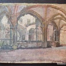 Arte: CLAUSTRO DE SAN ESTEBAN EN BURGOS / OLEO SOBRE LIENZO / SIGLO XIX / PINTOR FRANCÉS. Lote 94058270
