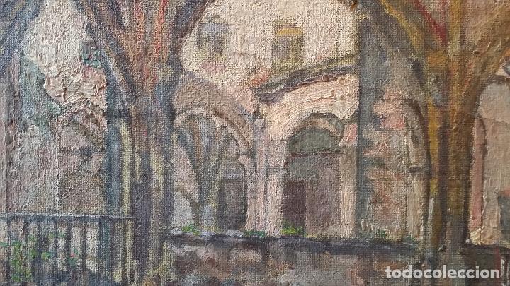 Arte: CLAUSTRO DE SAN ESTEBAN EN BURGOS / OLEO sobre lienzo / siglo XIX / pintor francés - Foto 2 - 94058270