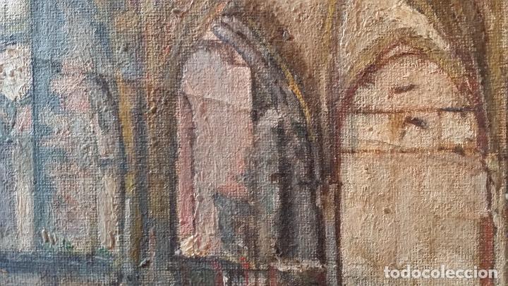 Arte: CLAUSTRO DE SAN ESTEBAN EN BURGOS / OLEO sobre lienzo / siglo XIX / pintor francés - Foto 3 - 94058270