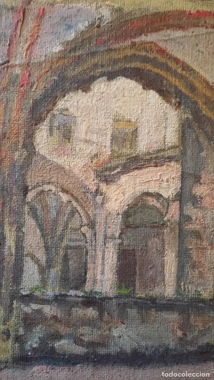 Arte: CLAUSTRO DE SAN ESTEBAN EN BURGOS / OLEO sobre lienzo / siglo XIX / pintor francés - Foto 4 - 94058270
