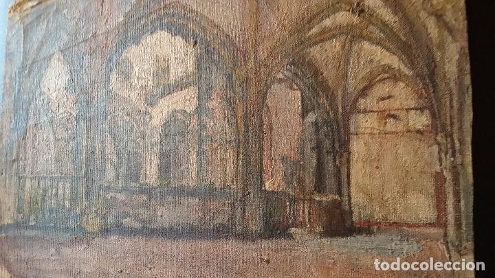 Arte: CLAUSTRO DE SAN ESTEBAN EN BURGOS / OLEO sobre lienzo / siglo XIX / pintor francés - Foto 5 - 94058270