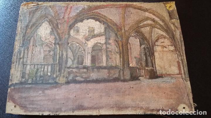 Arte: CLAUSTRO DE SAN ESTEBAN EN BURGOS / OLEO sobre lienzo / siglo XIX / pintor francés - Foto 6 - 94058270