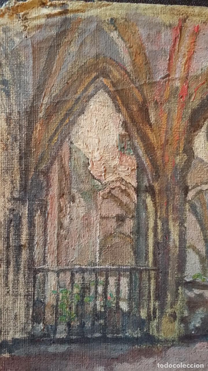 Arte: CLAUSTRO DE SAN ESTEBAN EN BURGOS / OLEO sobre lienzo / siglo XIX / pintor francés - Foto 7 - 94058270