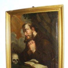 Arte: PRESIOCO ÓLEO SOBRE LIENZO DEL SIGLO XVIII REPRESENTANDO A SAN FRANCISCO DE ASÍS. Lote 94077745