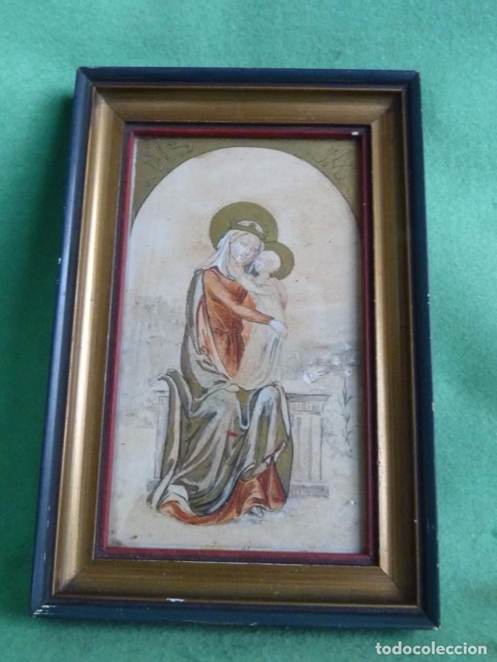 BONITA ACUARELA VIRGEN CON NIÑO JESUS DIBUJO ORIGINAL ANONIMO MEDIADOS AÑOS 40 ENMARCADO ÉPOCA (Arte - Arte Religioso - Pintura Religiosa - Acuarela)