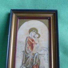 Arte: BONITA ACUARELA VIRGEN CON NIÑO JESUS DIBUJO ORIGINAL ANONIMO MEDIADOS AÑOS 40 ENMARCADO ÉPOCA . Lote 94105279