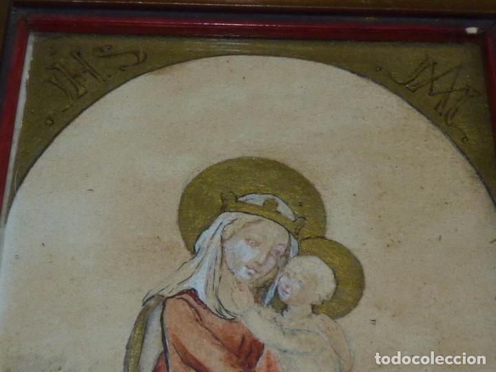 Arte: Bonita acuarela Virgen con niño Jesus dibujo original anonimo mediados años 40 enmarcado época - Foto 2 - 94105279