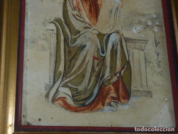 Arte: Bonita acuarela Virgen con niño Jesus dibujo original anonimo mediados años 40 enmarcado época - Foto 3 - 94105279
