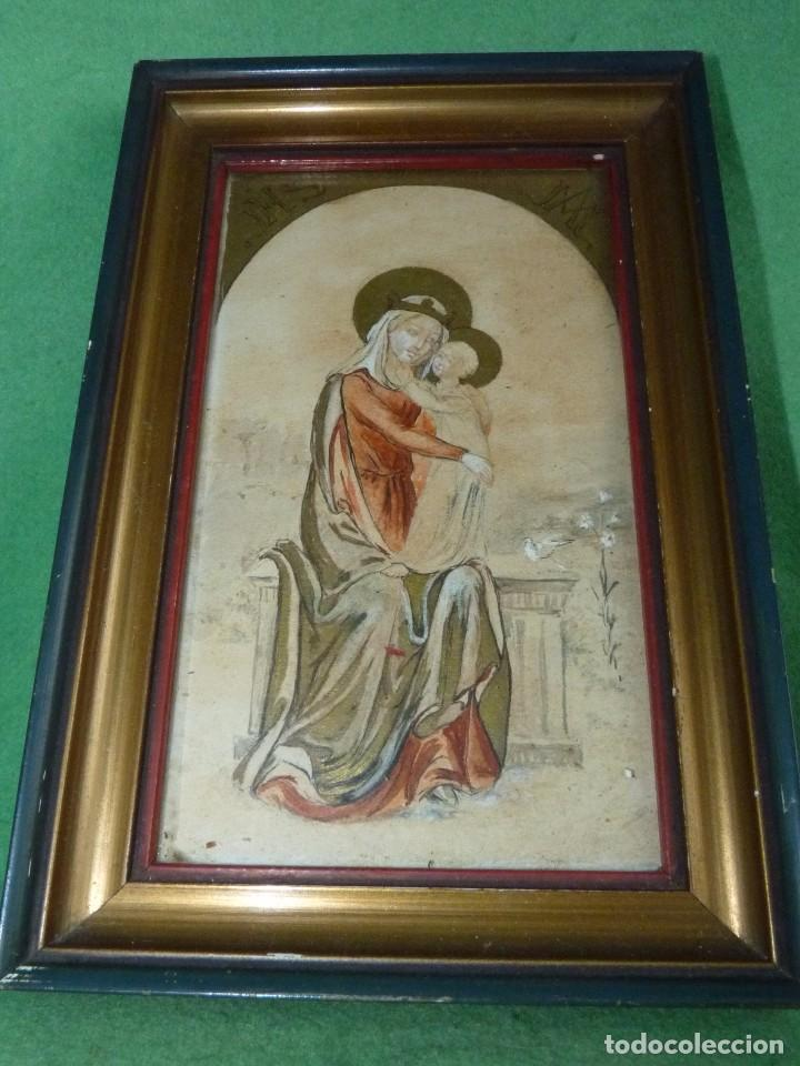 Arte: Bonita acuarela Virgen con niño Jesus dibujo original anonimo mediados años 40 enmarcado época - Foto 4 - 94105279