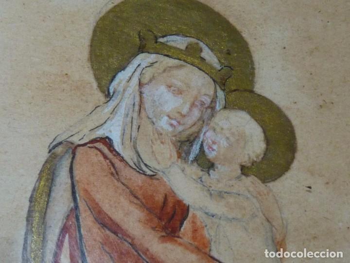 Arte: Bonita acuarela Virgen con niño Jesus dibujo original anonimo mediados años 40 enmarcado época - Foto 5 - 94105279