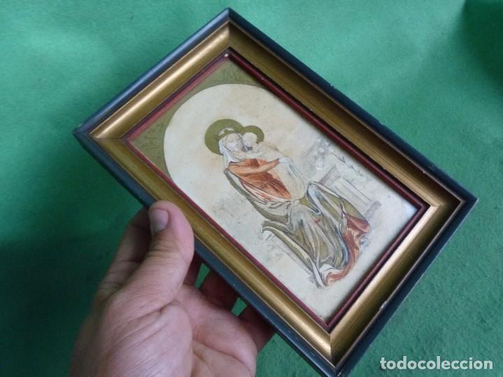 Arte: Bonita acuarela Virgen con niño Jesus dibujo original anonimo mediados años 40 enmarcado época - Foto 7 - 94105279