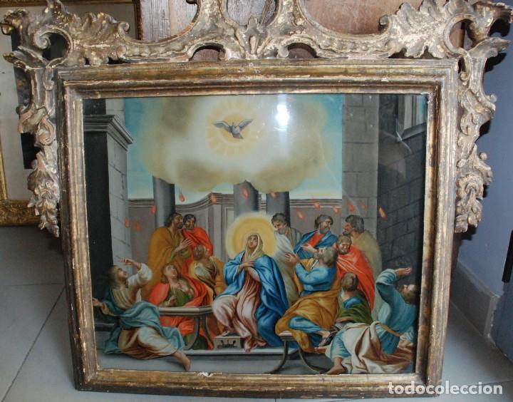 ESPECTACULAR PINTURA AL ÓLEO SOBRE CRISTAL CON IMPRESIONANTE MARCO.SIGLO XVIII (Arte - Arte Religioso - Pintura Religiosa - Oleo)
