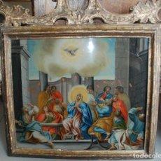 Arte: ESPECTACULAR PINTURA AL ÓLEO SOBRE CRISTAL CON IMPRESIONANTE MARCO.SIGLO XVIII. Lote 184780126