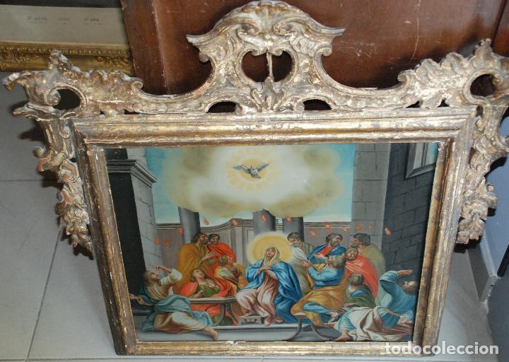 Arte: ESPECTACULAR PINTURA AL ÓLEO SOBRE CRISTAL CON IMPRESIONANTE MARCO.SIGLO XVIII - Foto 20 - 184780126