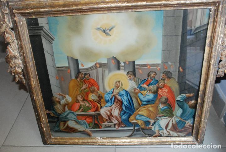 Arte: ESPECTACULAR PINTURA AL ÓLEO SOBRE CRISTAL CON IMPRESIONANTE MARCO.SIGLO XVIII - Foto 5 - 184780126