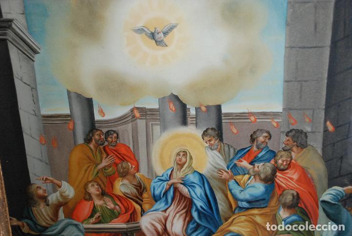 Arte: ESPECTACULAR PINTURA AL ÓLEO SOBRE CRISTAL CON IMPRESIONANTE MARCO.SIGLO XVIII - Foto 21 - 184780126