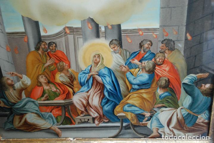 Arte: ESPECTACULAR PINTURA AL ÓLEO SOBRE CRISTAL CON IMPRESIONANTE MARCO.SIGLO XVIII - Foto 2 - 184780126