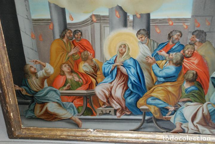 Arte: ESPECTACULAR PINTURA AL ÓLEO SOBRE CRISTAL CON IMPRESIONANTE MARCO.SIGLO XVIII - Foto 11 - 184780126