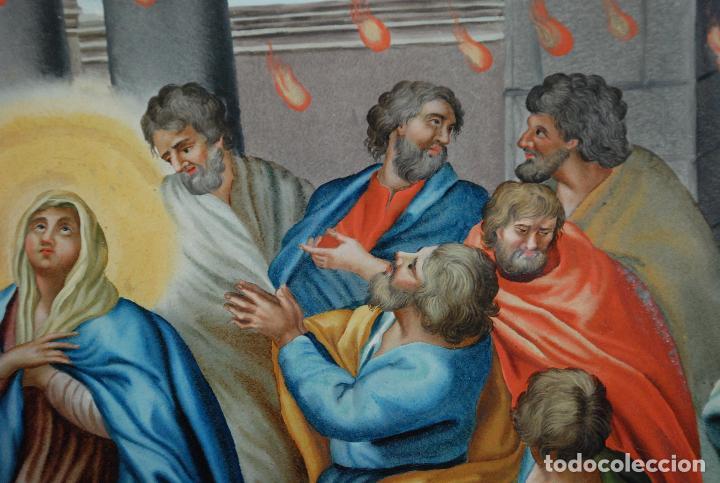 Arte: ESPECTACULAR PINTURA AL ÓLEO SOBRE CRISTAL CON IMPRESIONANTE MARCO.SIGLO XVIII - Foto 22 - 184780126