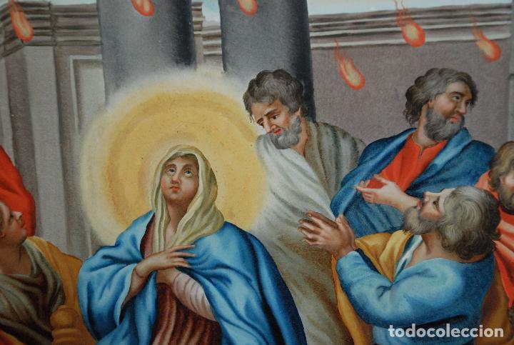 Arte: ESPECTACULAR PINTURA AL ÓLEO SOBRE CRISTAL CON IMPRESIONANTE MARCO.SIGLO XVIII - Foto 3 - 184780126