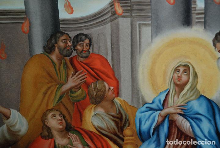 Arte: ESPECTACULAR PINTURA AL ÓLEO SOBRE CRISTAL CON IMPRESIONANTE MARCO.SIGLO XVIII - Foto 15 - 184780126