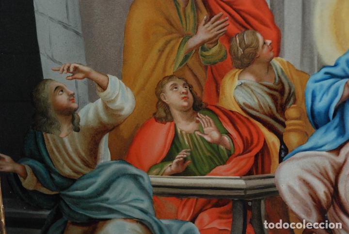 Arte: ESPECTACULAR PINTURA AL ÓLEO SOBRE CRISTAL CON IMPRESIONANTE MARCO.SIGLO XVIII - Foto 19 - 184780126