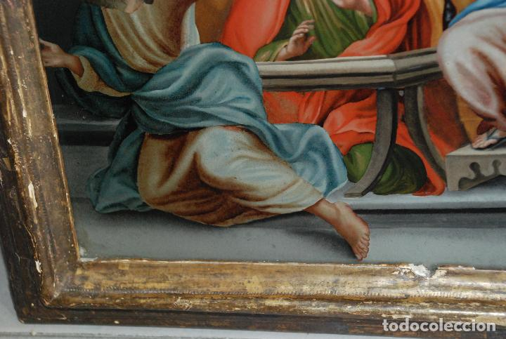 Arte: ESPECTACULAR PINTURA AL ÓLEO SOBRE CRISTAL CON IMPRESIONANTE MARCO.SIGLO XVIII - Foto 9 - 184780126