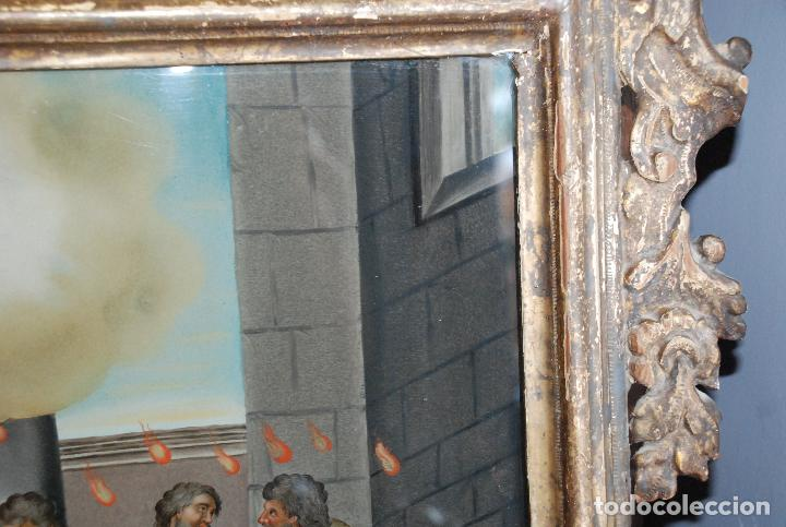 Arte: ESPECTACULAR PINTURA AL ÓLEO SOBRE CRISTAL CON IMPRESIONANTE MARCO.SIGLO XVIII - Foto 23 - 184780126