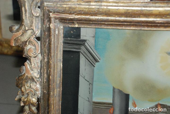 Arte: ESPECTACULAR PINTURA AL ÓLEO SOBRE CRISTAL CON IMPRESIONANTE MARCO.SIGLO XVIII - Foto 8 - 184780126