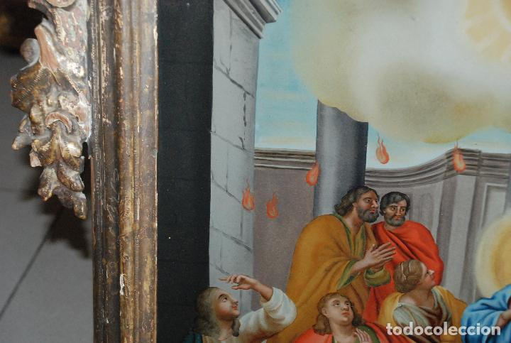 Arte: ESPECTACULAR PINTURA AL ÓLEO SOBRE CRISTAL CON IMPRESIONANTE MARCO.SIGLO XVIII - Foto 12 - 184780126