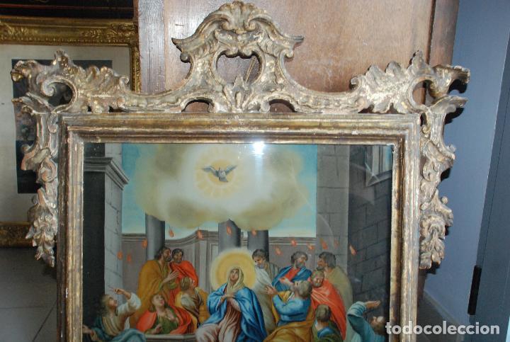 Arte: ESPECTACULAR PINTURA AL ÓLEO SOBRE CRISTAL CON IMPRESIONANTE MARCO.SIGLO XVIII - Foto 7 - 184780126