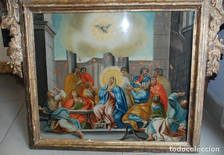 Arte: ESPECTACULAR PINTURA AL ÓLEO SOBRE CRISTAL CON IMPRESIONANTE MARCO.SIGLO XVIII - Foto 14 - 184780126