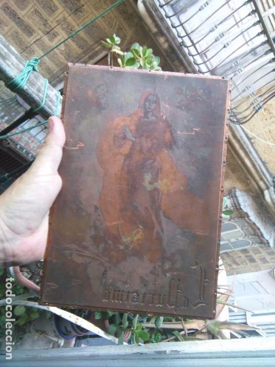 PLANCHA RELIGIOSA COBRE ORIGINAL VIRGEN PURISIMA INMACULADA CONCEPCION PARA REALIZACION DE GRABADOS (Arte - Arte Religioso - Grabados)