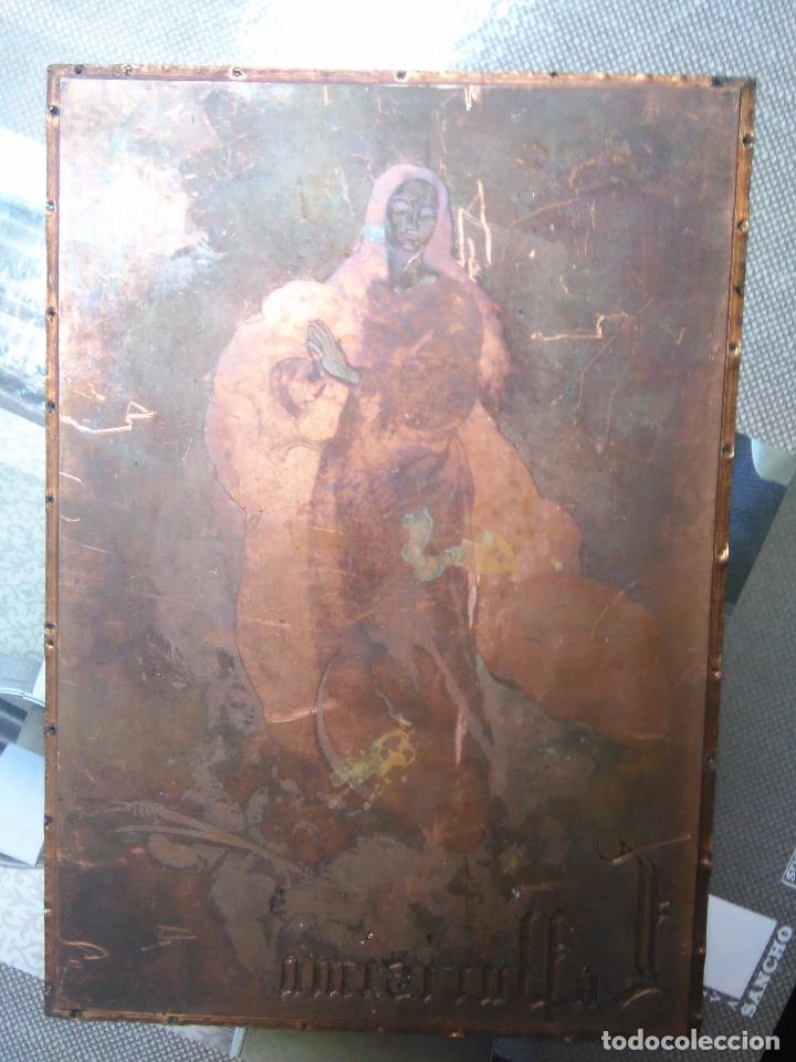 Arte: plancha religiosa cobre original virgen purisima inmaculada concepcion para realizacion de grabados - Foto 6 - 94264240