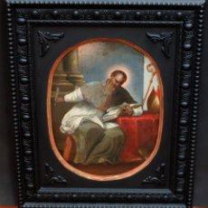 Arte: ESCUELA ESPAÑOLA DEL SIGLO XVIII. OLEO SOBRE PLANCHA DE AUTOR ANONIMO. SAN AGUSTIN. Lote 94316142