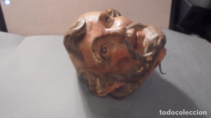 Arte: (M) ANTIGUA CABEZA DE TALLA POLICROMADA DE UN SANTO S. XVIII - ORIGINAL DE EPOCA 14X13 CM. , TODO - Foto 2 - 94323046