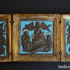 Arte: CONSERVADO TRIPTICO DE VIAJE ICONO RUSO MADERA ORO FINO BRONCE Y ESMALTES S.G.XIX. Lote 94441606