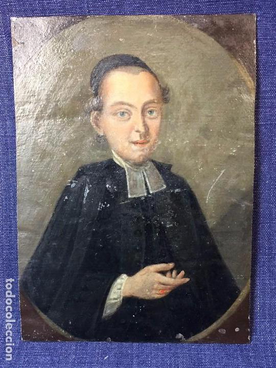 OLEO CHAPA RIGIDA HOJALATA CLERIGO CURA CANONIGO ANGLICANO XVIII ANILLO ORO RUBI MEDALLON 14,5X10,5 (Arte - Arte Religioso - Pintura Religiosa - Oleo)