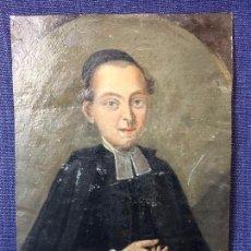 Arte: OLEO CHAPA RIGIDA HOJALATA CLERIGO CURA CANONIGO ANGLICANO XVIII ANILLO ORO RUBI MEDALLON 14,5X10,5. Lote 99934092